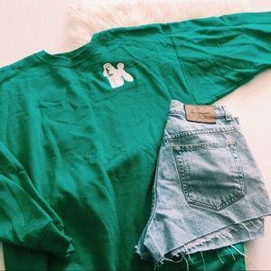 Vintage Tops - Vintage Green Poodle Patch Crewneck Sweater